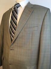 Michael Kora Designer Tan Light Blue Pattern Blazer Sports Coat 46R A+ Condition