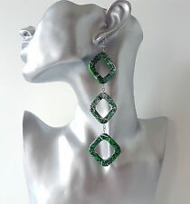 "Gorgeous 5"" long Green & black geometric irregular patterned bead drop earrings"
