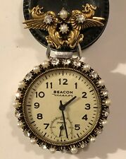 GAUDY GORGEOUS Pocket Watch 18s Ingraham Faux Pearls and Diamonds Matching Pin