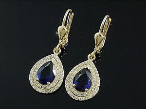 585 Gold Ohrringe mit Saphir 8mm Größe  30mm Länge  1 Paar mit Brisur