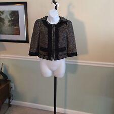 Ann Taylor Black/Ivory Tweed 3/4 Sleeve Swing Blazer - 0Petite