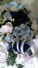 2pc set Light blue Dark Blue and white bouquet & bout or Any color Rush Availabl
