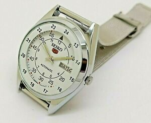 seiko 5 automatic men's railway time 6309 day/date japan working watch