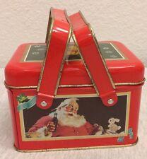 Christmas Coca Cola Tin Box Basket Style w/Handles 1992