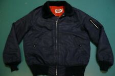 Dickies Vintage Made in USA Quilt Lined Bomber Blue Flight Jacket 70's 80's Fur