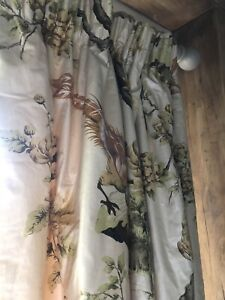 Country Pheasant Vintage Glazed Cotton Interlined Handmade Curtains (Pair 1 / 2)