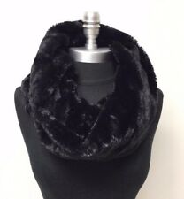 Women winter warm soft faux fur infinity scarf circle loop cowl Wrap snood Black