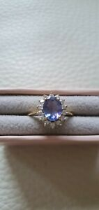 LOVELY 9CT GOLD AA+ TANZANITE & WHITE ZIRCON CLUSTER RING SIZE 7/M-N TGW 1.67CTS