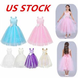 US Flower Girls Dress Wedding Bridesmaid Ball Gown Birthday Party Formal Dress