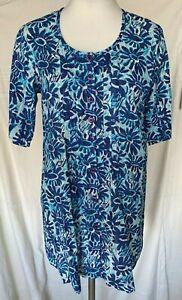 Adini 100% Cotton dobby tunic short sleeves button through crew neck XS only