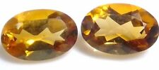 NATURAL GOLDEN ORANGE CITRINE GEMSTONES LOOSE PAIR OVAL 6 x 4 mm TOP AAA