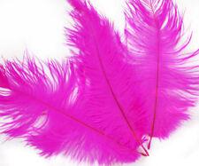 6pcs Hot Fuchisa Pink Dyed Long Ostrich Feathers Tail Fan DIY Hat Wedding Jewelr