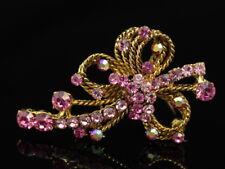 65mm rope shape Austrian rose pink crystal rhinestone gold tone Royal Brooch D29