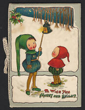 Christmas-Raphael Tuck-Greeting Card Booklet-Children-Lantern- Artist?-Antique
