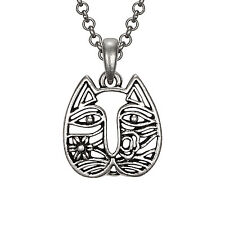 New Laurel Burch Necklace Jewelry Cat Face Silver Kitten Pendant Chain Floral