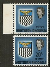 """NORTHERN RHODESIA 1963 20/- """"VALUE OMITTED"""" SG88b MNH MARGINAL RARE !!"""