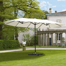 Outsunny 15' Double-Sided Patio Umbrella Parasol Sun Shelter Market Canopy Shade