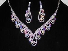 Bridal Silver With Clear, AB Iridescent Rhinestone Necklace and Earrings Set