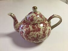VINTAGE FORMALITIES BY BAUM BROTHERS  TEAPOT PINK TOILE ROSE GOLD TRIM