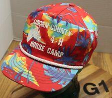 LINCOLN COUNTY OREGON 4-H HORSE CAMP HAT JUNGLE PRINT SNAPBACK VGC G1