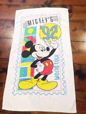 vtg 1992 Mickey Mouse Disney World Tour Stamp kids Pool Bath Beach Towel 31X54