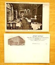 2 Postcards Stadt Gotha Hotel & Restaurant Dresden Germany c.1900-1908