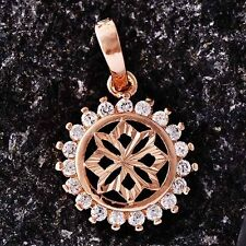 Womens Rose Gold Filled Clean Crystal Round Flower Pendant Fit Necklace