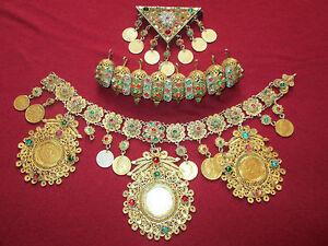 Antique Silver Gilt Filigree Jewel Set Bulgaria Head&Body Decoration Amulet 18C