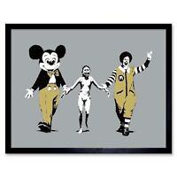 Banksy Napalm Graffiti Street Art 12X16 Inch Framed Art Print