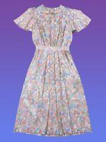 VINTAGE 80s 90s Miss Chaus Womens Dress 10 Pink Peach Maxi Flutter Floral