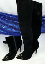 Shoedazzle NICOLA Black Suede Knee High Boots Size 5.5 Gold Spike Studs