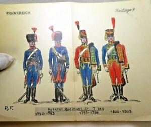 Frankreich Husaren Regiment Nr 7 bis 1792-93 1793-96  Uniform Officer French