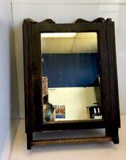 1900's Wood Medicine Cabinet Mirror Towel Rack Office Towel Supply Advertising