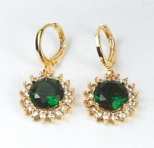 Women's Gold plated Green Crystal Round drop dangle earrings