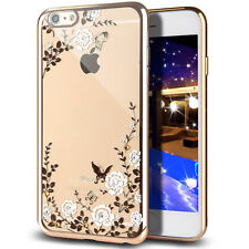 Soft Transparent TPU Gel Skin Case w/Spot Diamond Chrome Bumper Cover for iPhone