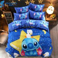 Bedding Set Blue Lilo & Stitch Pattern Bedclothes Sheet Pillowcase Cartoo