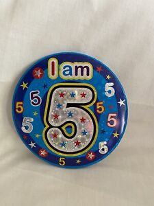 Age 5, 5th Happy Birthday badge  Boy/Girl Blue Children Party