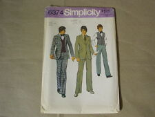 SIMPLICITY 6374 VINTAGE MEN'S SUIT WITH VEST.. SIZE 38.. NEW