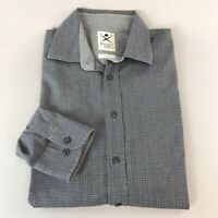 Mens Hackett Mayfair Brushed Check Charcoal Long Sleeve Shirt Size L Slim Fit