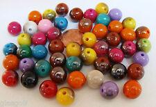50 perles Acrylique rondes 10mm simples bicolores mix couleurs DIY bijoux