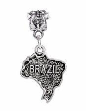 Brazil Silhouette Map Word Trip Travel Dangle Charm for Silver European Bracelet