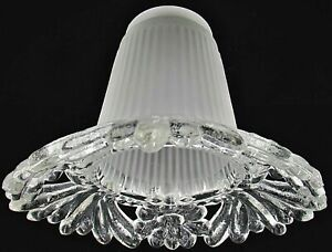 Translucent White Frosted Ruffled  Pleated Bell Glass Pendant Chandelier Shade for Ceiling Fan Light Fixture or Lamp Vintage Glass Shade