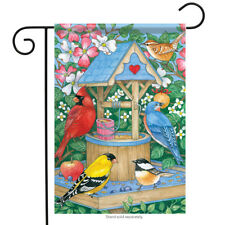 "Make a Wish Spring Garden Flag Flower Wishing Well Floral 13"" x 18"""