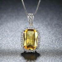 Damen Halskette Silber 925 Natürliche Gelbe Citrin Stein Kette Silber Anhänger.