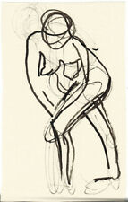 STANDING NUDE WOMAN Ink drawing 3 by U/K Russian artist