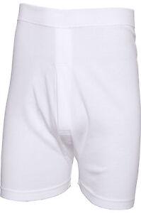 NEW Mens White 100% Cotton Trunks Superwhite