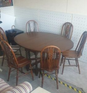 Retro Old Charm Vintage Dark Wood Drop Leaf Table and 6 Chairs - CIS B78