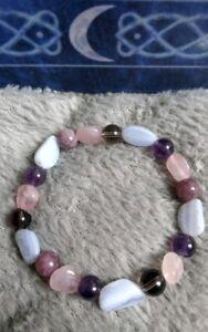 Stress and anxiety crystal healing bracelet rose quartz amethyst lepidolite