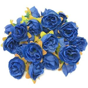 Navy Blue Rose Bud Decorative Synthetic Flowers (Faux Silk) - UK SELLER