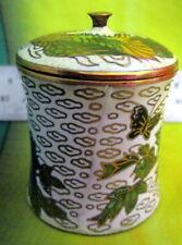 """2"""" Cloisonné Lidded Trinket Round Box Flower Butterflies Birds 1 Jar. Signed"""